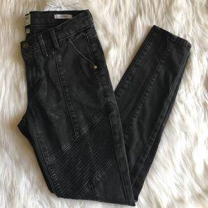 Frame Denim Le Skinny Biker Moto Pant Black 28